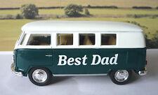 """Personalised """"BEST DAD """" Gift Green VW CAMPER Van BUS Toy Birthday Present"""