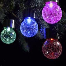 Solar Powered Mosaic Glass Ball Garden Stake Lamp Color Change Yard LED Light