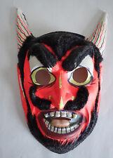 VTG Halloween Mask DEVIL Satan Lucifer Demon Vntage HALLOWEEN MASK FLOCKED HAIR