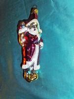 alte Christbaumkugel Glas Formkugel Weihnachtsmann Vintage West Germany rot weiß