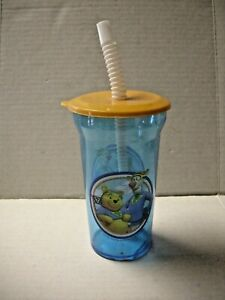 Winnie The Pooh Sippie Cup With Straw, Blue, Plastic,12 Ounces, Brand New