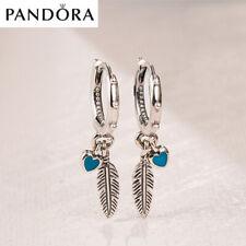 PANDORA S925 Turquoise Hearts & Feather Hoop Earrings 297205EN168