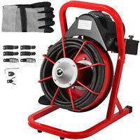 "50' x 3/8"" Drain Cleaner Machine 250W W/foot switch Plumbing Machine Sewer Snake"