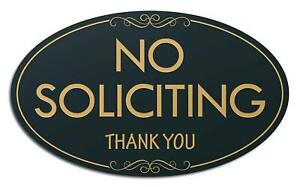 """No Soliciting Laser Engraved Sign - 3""""x5"""" - .050 Back/Gold Plastic"""