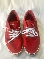 Van's Atwood Size 14 Red Lace Up Sneakers Low Cut Skate Shoes Canvas White Laces
