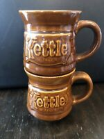 Kettle Restaurant Vintage Mugs Taiwan Set Of 2 Brown Glazed