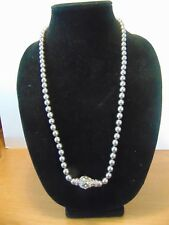 """Joan Rivers Silver w Grey Pearl Crystal Egg Clasp Necklace 28"""" Collector'S Item"""