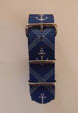 Impresión De Ancla Azul Estilo Militar de la OTAN Correa De Reloj 18MM - 22MM
