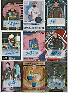 LOT of (9) Nascar 2021 Panini Chronicles Race-Used Tire Fire Suit Relic AUTO SP