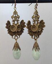 Crowned Owl Earrings W/ Jade Art Nouveau Revival Jewelry