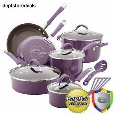 Nonstick Cookware Set 12 PC Rachel Ray Pots Pans Kitchen Enamel Cooking Purple