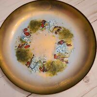"Vintage MCM Leon Statham Enamel On Copper Tray Dish 8"" plate (flaw crack"