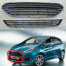 CHROME FRONT UPPER & LOWER GRILLE Front Bumper Grille For FORD FIESTA 2013-2016