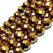 "MAGNETIC HEMATITE BEADS FACETED GOLD PLATED 4MM ROUND 16"" BEAD STRANDS"