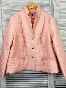 W Lane Plus Size Puffer Jacket 20 Coral Stand Up Collar Snap Closure Zip Pockets