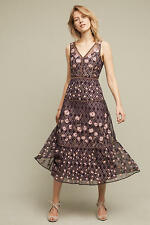 Anthropologie embroidery Tansey Tulle Midi Dress By Moulinette Soeurs Sz 6 $298