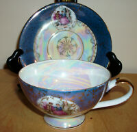 Royal Sealy Blue Luster Footed Cup & Saucer - Victorian Couple Dancing Courting