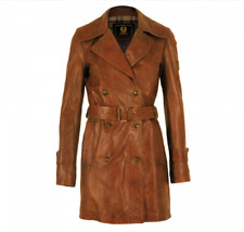 BELSTAFF GOLD 'Amelia Erhart ' WOMEN LEATHER TRENCH JACKET 40 .MADE IN ITALY