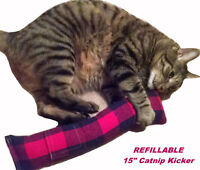 """(Refillable) 15"""" Flannel Catnip Cat Kicker Toy (Filled with 1oz Canadian Catnip)"""