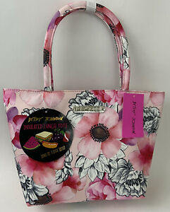 Betsey Johnson Satchel Insulated Lunch Tote Handbag Blush Pink Red Floral NWT