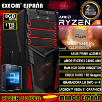 Ordenador Gaming Pc AMD Ryzen 5 3400G AM4 8GB DDR4 1TB de Sobremesa Windows 10