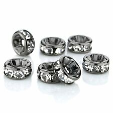 100Pcs Crystal Rondelle Spacer Beads Metal Black Plated Beads 8mm DIY Findings