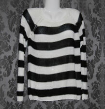 Womens size 12 black & white striped knit jumper made by MISS SHOP