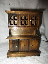 Vintage Wooden Dollhouse China Cabinet/ Hutch Pretend Play Toys