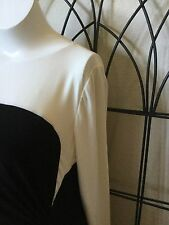 Lauren By Ralph Lauren Black And Ivory Colorblock Plus Size 14W Dress