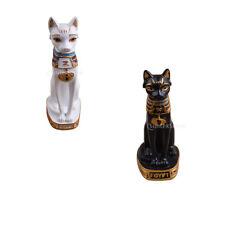 2Pcs Vintage Style Small Egyptian Mau Egypt Cat Statue Hand Carved Figurine