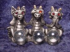 """Pewter """"No Evil"""" Dragons with Colorful Crystals"""