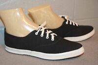 5 M NOS ALL BLACK CANVAS Vtg 70s BOHO LACROSSE POINTED TOE SNEAKER TENNIS Shoe