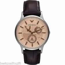 EMPORIO ARMANI DARK BROWN LEATHER+SILVER AUTOMATIC MECCANICO WATCH-AR4665