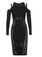HERVE LEGER Cold  Shoulders Bandage Dress Black Mesh Midi Long Sleeve C81 *M