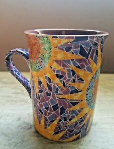 Giordano Di Ponzano GdP Mosaic Sunburst Coffee Tea Cup Mug Purple Mozaic