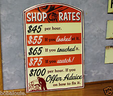 SHOP RATES auto Metal Vintage Style Signs Garage Man Cave car Gas Pump station