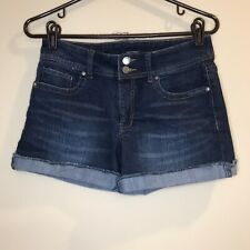Daisy Fuentes Jean Shorts Cut Off Cuffed Blue Double Button Women's Size 2