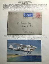 1936 London England Airmail Crash Cover To Lagos Nigeria Adelaus Flying Boat