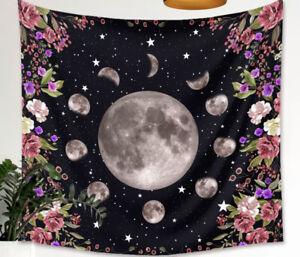 Moon & Purple Flower Print Tapestry Wall Hanging 70*100cm UK Seller *FAST POST*