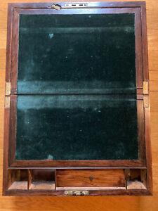 Antique Lap Desk with Velvet Green Slope