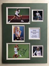 """Tennis Anna Kournikova Signed 16"""" X 12"""" Double Mounted Display"""