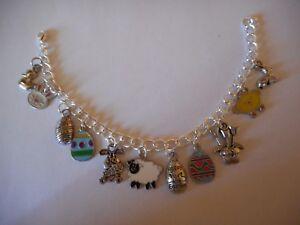 Easter themed enamel and silvertone charm bracelet