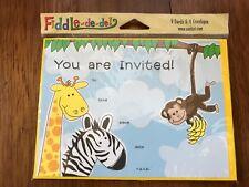 Kids Jungle Safari Party Invitations NIP