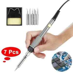 7pcs 60W Wood Burning Pen Soldering Tool Crafts Tool Set Pyrography AU plug