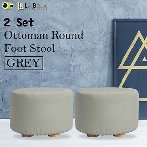 2X Fabric Ottoman Round Foot Stool Rest Pouffe Wooden Leg Padded Seat - GREY