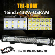 "16Inch Tri-row 432W LED OSRAM Work Light Bar Flood Spot Combo Driving 15 18"" ATV"
