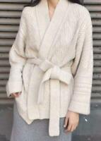 Womens Thicken Wool Cashmere Knitted Sweater Cardigans Outwear Belt Coat