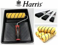 "Harris 9pc Paint Roller Tray Paint Brush Decorating Set 9"" Emulsion Sleeve Frame"