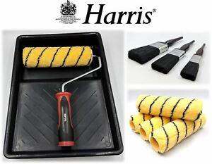 "Harris 9pc Paint Roller Tray Paint Brush Decorating Set 9"" Emulsion Sleeve Frame"