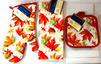 Kitchen Towels Oven Mitt Set of 4 Fall Autumn Leaves Red Orange Yellow Gift